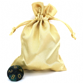 Gold Small Satin Dice Bag